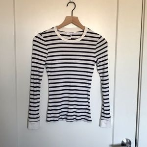 FRAME Ribbed Navy & White Striped Long Sleeve Tee